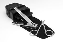Manicure Tools. With a black case over white background Stock Photos