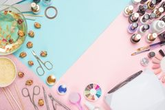 Manicure - tools for creating, gel polishes, everything for nail care, beauty and care concept. Banner for inscriptions salon. Color Flat-lay royalty free stock image