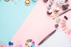 Manicure - tools for creating, gel polishes, everything for nail care, beauty and care concept. Banner for inscriptions salon. Color Flat-lay royalty free stock images