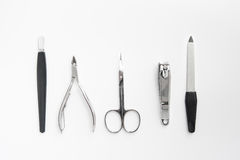 Manicure tools set nail care top view. On white background Stock Photography