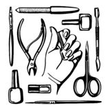 Manicure tools set royalty free illustration