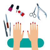 Manicure tools Vector illustration. Female hands with painted nails on the manicure table with set of manicure tools Top view Flat design Royalty Free Stock Images