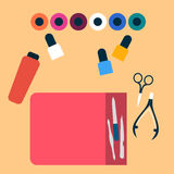 Manicure tools Vector illustration. Manicurist desk with a set of manicure tools Top view Flat design Royalty Free Stock Photos