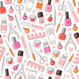 Manicure tools vector seamless pattern. Manicure tools set vector seamless pattern Stock Image