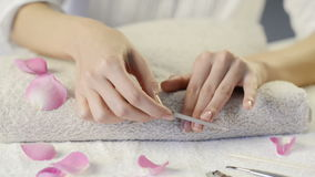 Manicure treatment stock footage