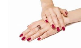 Manicure'u i gemstone pierścionek Zdjęcia Stock