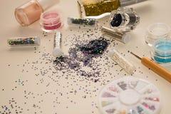 Manicure'u i pedicure'u narzędzia, błyskotliwość Obraz Stock