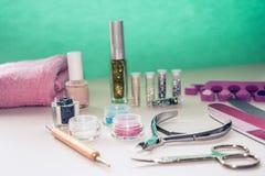 Manicure'u i pedicure'u narzędzia dla gwóźdź sztuki, błyskotliwość Obraz Stock