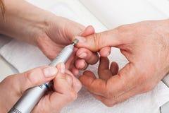 Manicure'u mężczyzna close-up Zdjęcia Stock