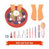 Manicure'u pedicure'u zdroju piękna opieki nożny set Zdjęcia Royalty Free