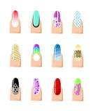 Manicure'u projekta set Kolorowa tekstura dla gwoździa salonu ustawiającego barwiony malujący odosobniony na białym tle Obraz Stock