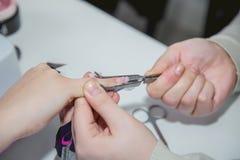 Manicure in un salone di bellezza, classe matrice Fotografie Stock