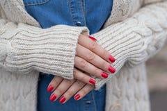 Manicure vermelho Fotografia de Stock Royalty Free
