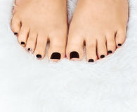 Manicured female feet Caucasian white fluffy carpet  Royalty Free Stock Images