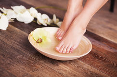 Manicured female feet in spa wooden bowl with flowers and water closeup Royalty Free Stock Photo