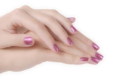 Manicured female hands Royalty Free Stock Images