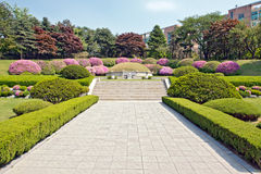 Manicured garden around the tomb Royalty Free Stock Images