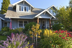 Manicured garden and home Gresham Oregon. Royalty Free Stock Photo