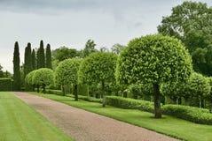 Manicured garden at Manor d'Eyrignac stock photos