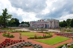 Manicured grounds of Kadriorg Palace , Tallinn. Estonia with landscaped flower beds and central fountain in a travel and tourism concept Stock Images