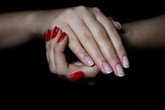 Manicured hands with nailpolish Royalty Free Stock Images