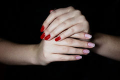 Manicured hands with nailpolish Stock Image