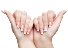 Manicured hands on white Royalty Free Stock Photo