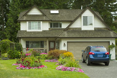 Manicured Home and Yard. A beautiful home with a manicured yard and garden full of perennials and annuals Stock Images