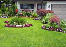 Manicured House and Garden. Displaying annual and perennial gardens in full bloom Stock Images