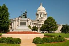 Manicured jordningslandskap Front Lawn Arkansas State Capital arkivfoto
