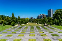 Manicured lawns at the rear of the Shrine of Remembrance, Melbourne, Australia Royalty Free Stock Photo