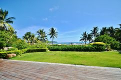 Manicured lawns and shrubs. In the resort Stock Photos