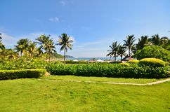 Manicured lawns and shrubs. In the resort Stock Images