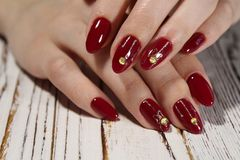 Manicured nails Nail Polish art design. Best Royalty Free Stock Photo