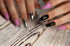 Manicured nails Nail Polish art design. Best Royalty Free Stock Image