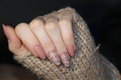 Manicured nails Nail Polish art design. Nail Polish. Beauty hands stock photos