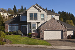 Manicured residential house Clackamas Oregon. Royalty Free Stock Image