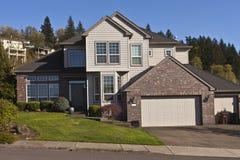 Manicured residential house Clackamas Oregon. Manicured residential family house in Clackamas Oregon Royalty Free Stock Image