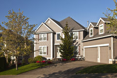 Manicured residential house Clackamas Oregon. Manicured residential family house in Clackamas Oregon Stock Images