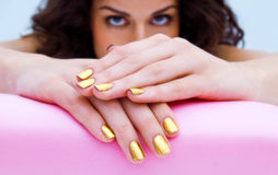 Manicured woman fingernails Stock Photo