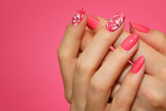 Manicured woman`s nails with pink nailart with flowers. Stock Photos