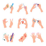 Manicured Women Nails Isolated Illustrations Set Royalty Free Stock Photo