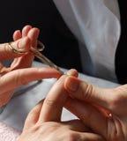 Manicurist cutting cuticles Stock Image