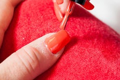 Manicurist master makes manicure on young woman hand Stock Photography