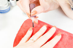Manicurist master makes manicure on young woman hand Royalty Free Stock Images