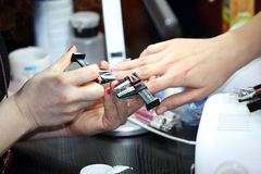 Manicurist master makes manicure on young woman's hands Stock Images