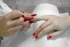 Manicurist, nail paint red color Royalty Free Stock Photo