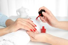 Manicurist painting client`s nails with bright polish in salon. Closeup stock image