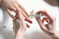 Manicurist painting client`s nails with polish in salon. Closeup stock photo