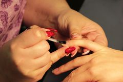 Manicurist at the training courses of manicure prepares the hand of the client before applying shellac. applying a. Transparent base Stock Photography